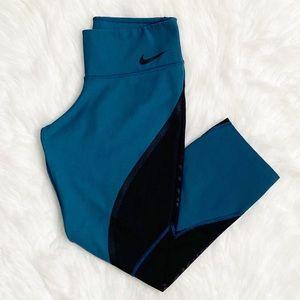 Nike Power Legend Teal Training Capri Leggings S